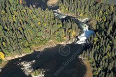 AERIAL VIEW OF NISTOWIAK FALLS, LAC LA RONGE PROVINCIAL PARK ...