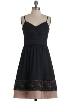 The Evenings Surprise Dress - Mid-length, Black, Tan / Cream, Solid, Beads, Lace, Wedding, Party, A-line, Spaghetti Straps, Tiered, Button Down, Collared, Fit & Flare, Formal