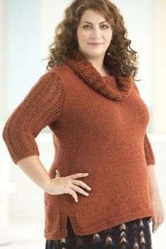 Free Knitting Pattern for Cowl Neck Tunic - Pullover with lace three quarter length sleeves and matching lace cowl. 4 sizes Finished Bust 48 (51, 55, 59) in.