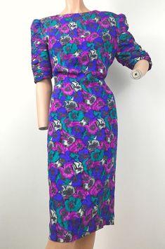 Marie Ellyse VTG SILK Floral Dress Sz 10 80s 90s Puffy Sleeves  | eBay