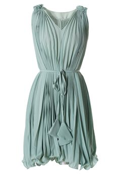 Green Pleated Dress with Belt