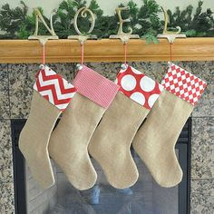 Burlap Stocking in Burlap with Fabric Cuff Rustic Chic Christmas Stocking on Etsy, $22.00
