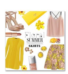 """Bloomin' skirt"" by jckallan ❤ liked on Polyvore featuring MSGM, WearAll, Paul Andrew, Prada, Kate Spade, Christian Dior, Dolce Vita and Floralskirts"