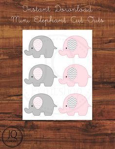 Printable Instant Download Gray and Pink Elephant Chevron