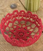 WC2021 Filigree Bowl [The free download has the crochet pattern for this design, and will tell you how to stiffen crochet lace, in the event that you want to use a purchased doily.]