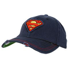 SUPERMAN Classic Logo Distressed Cap Flex Fit Hats dcb908727b9