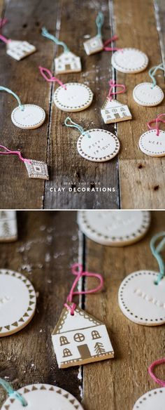 shaped clay decorations with stamped phrases and gold pen detailing
