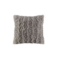 Madison Park Ruched Faux Fur Euro Throw Pillow, Grey