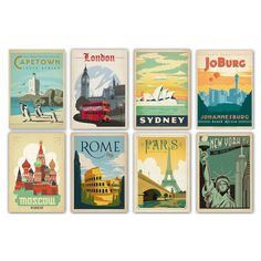 Vintage style world travel posters by Americanflat