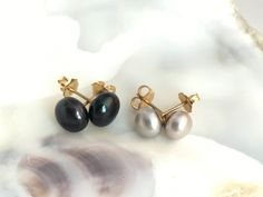 Freshwater Black and Silver Gray Hand-crafted Pearl Bun Stud Earrings Cup Post with Peg and Earring Back Made of 14K Gold Filled - WOW117 by designbyAnnaLisa on Etsy