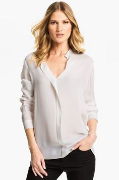 Professionelle: Pleated Silk Blouse. I like the Nehru collar!