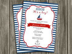 Printable Nautical Sailboat Baby Shower Invitation | FREE thank you card included | Party Package Decorations Available | www.dazzleexpressions.com