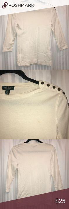 Lauren Ralph Lauren Top Women's Lauren Ralph Lauren white top 3/4 sleeve  Petite Small or XS  Length: 24 inches Underarm to underarm: 16 inches Lauren Ralph Lauren Tops