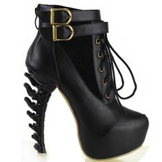 Show Story Black Lace Up Buckle High-top Bone High Heel Platform Ankle Boots,LF40601BK40,8.5US,Black