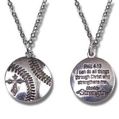 "The Shield of Strength Softball Pendant Rhodium Plated Athletic Christian Jewelry features the verse of Philippians 4:13, on one side ""I can do all things through Christ who strengthens me."" - Philippians 4:13 anda cross on the front...."