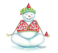 10 count Yoga Snowman Greeting Cards by idylwyldcreative on Etsy, $29.00 #yoga #snowman #cardinal #christmas
