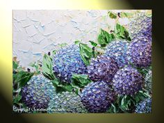 """PRINT Abstract Painting, Floral Painting Hydrangea Flowers Modern Palette Knife Lavender White Purple LIMITED EDITION Art 30x22"""" -Christine"""