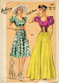 DuBarry 5041 vintage dress pattern 30s 40s war era puff sleeves day knee maxi long green floral white yellow purple magenta belt crop midriff
