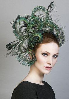 - Curled peacock feather headdress on silk crescent Feather Headdress, Feather Hat, Wedding Headdress, Rachel Trevor Morgan, Fascinator Hats, Fascinators, Headpieces, Occasion Hats, Fancy Hats