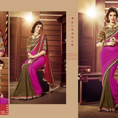 Pink printed chiffon saree with blouse - - 443683 Latest Sarees, Chiffon Saree, Punjabi Suits, Saris, India, Brand New, Printed, My Favorite Things, Blouse