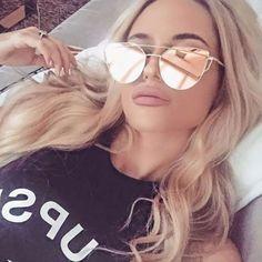 d156590dfd 2017 Cat Eye vintage Brand designer rose gold mirror Sunglasses For Women  Metal Reflective flat lens Sun Glasses Female oculos