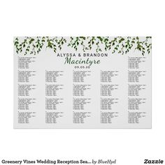 Greenery Vines Wedding Reception Seating Chart. Custom Wedding Seating Charts. Order your custom sign at Boardman Printing. Visit us on Facebook/BoardmanPrinting
