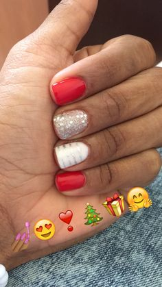 Red Shellac Nails for Christmas