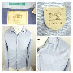035c7fc12385 Scotch   Soda Blue Button Front Shirt Long Sleeve Herringbone Stripe Size  Medium  ScotchSoda  ButtonFront