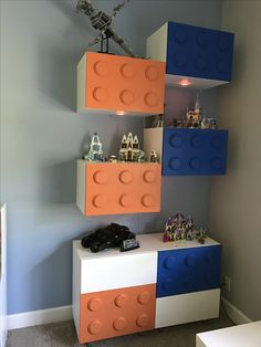 Lego wall from Besta shelves, diode lights, and captiva legs from Ikea