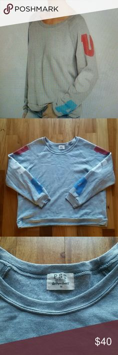 """PST PROJECT SOCIAL T USA REGLAN SLEEVE SWEATSHIRT VERY GOOD CONDITION. PST PROJECT SOCIAL T USA RAGLAN SLEEVE SWEATSHIRT OVERSIZED SZ M.25"""" LENGTH 24 """" ARMPIT TO ARMPIT.  ALL MEASUREMENTS ARE TAKING WITH THE GARMENT LYING FLAT. 50% polyester 50% rayon.??13 project Social t Tops Sweatshirts & Hoodies"""