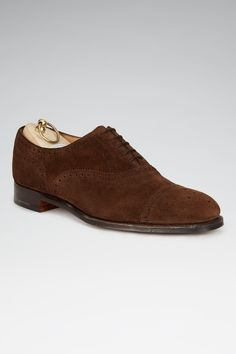 0e525ea1458 Dark Brown Calf Suede Half Brogue Shoes