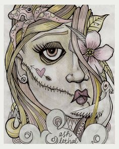 Silenced Original Ink & Watercolor Drawing on Paper by Ash Lethal on Etsy $45.00