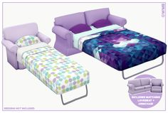 Updated versions of the first sofa beds I ever made! The meshes got some minor tweaking and they now include all of my new colours =D Download on my Blogger!