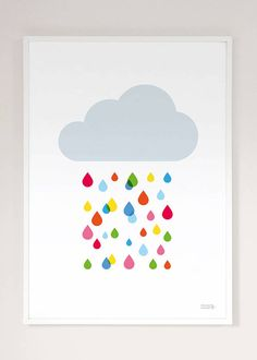 multicoloured rain cloud print by showler and showler | notonthehighstreet.com