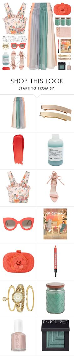 """floral linen ruffle top"" by jesuisunlapin ❤ liked on Polyvore featuring Antik Batik, Monki, Bobbi Brown Cosmetics, Davines, Rebecca Taylor, Raye, CÉLINE, Serpui, Buxom and Anne Klein"