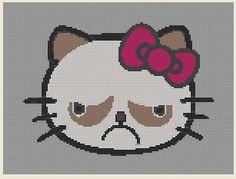 Cross Stitch Pattern Hello Kitty Grumpy by PerkiliciousPatterns