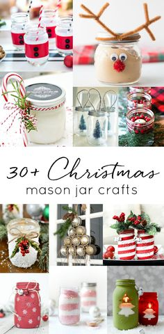 Christmas Mason Jars - 30+ oliday Craft and Gift Ideas. Mason Jar Christmas crafts. Mason Jar holiday crafts. Mason jar gift ideas for Christmas. Winter mason jars.