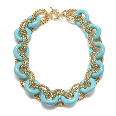 Charm & Chain | Turquoise & Gold Link Necklace