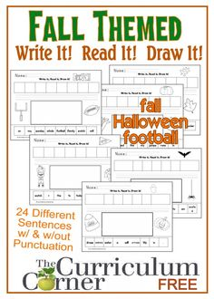 Fall Themed Write It Read It Draw It Sentences | literacy centers | FREE | The Curriculum Corner