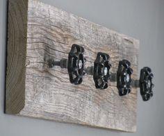 Aged Barnwood with 4 Black Vintage Spigot Coat Hanger Utility Hook Garden Organizer via Etsy