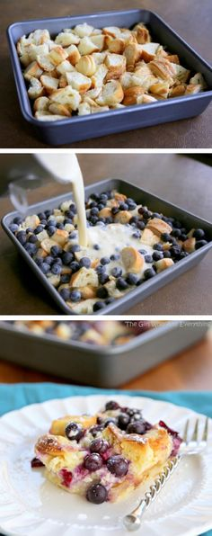 bread pudding with blueberries, cream cheese and croissants