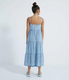 Vestido Midi Jeans com Alças Finas e Babados na Saia Azul All Jeans, Summer Dresses, Fashion, Blue Skirts, Ruffles, Neckline, Templates, Blue, Moda