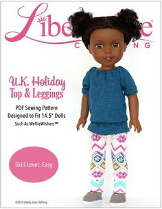 U.K. Holiday Top and Leggings Doll Clothes Pattern For WellieWishers Dolls | Pixie Faire