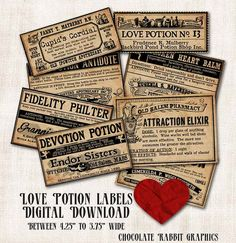 Love Potion Witch Apothecary Bottle Labels by chocolaterabbit