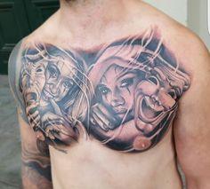 Chest tattoo Chicano Style Tattoo, Chicano Tattoos, Skull Tattoos, Body Art Tattoos, Sleeve Tattoos, Cool Tattoos, Catrina Tattoo, Clown Tattoo, Demon Tattoo