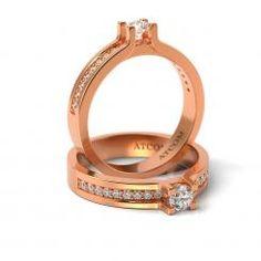 Inel de logodna cu diamante Yasha din aur roz