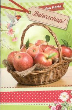 Van harte beterschap beterschap kaart met een mand appels