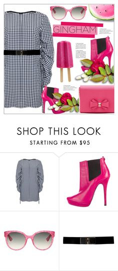 """""""Gingham"""" by arohii ❤ liked on Polyvore featuring TIBI, Cesare Paciotti, Gucci, Ted Baker, tedbaker, gingham and polyvorecontest"""