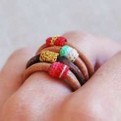 Leather and Embroidery Thread Ring