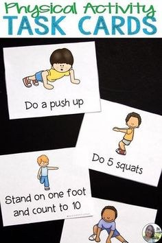 Physical Activity Cards - Exercise Cards These are task cards that show and describe a physical activity on each card. The tasks are simple enough for elementary or preschool students but still help them to get moving and stretching. Physical Activities For Kids, Pe Activities, Exercise Activities, Gross Motor Activities, Gross Motor Skills, Exercise For Kids, Exercise Moves, Activity Games, Kids Gym